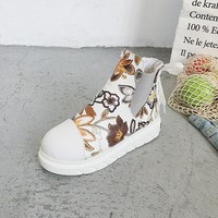 Flower Print Pattern Ankle Boots