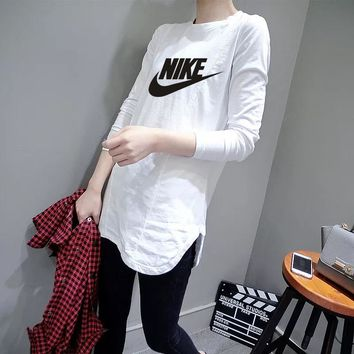 """Nike"" Women Casual Simple Letter Print Long Sleeve Irregular T-shirt Tops"