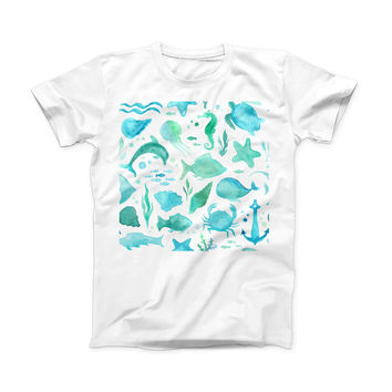 The Vivid Blue Watercolor Sea Creatures V2 ink-Fuzed Front Spot Graphic Unisex Soft-Fitted Tee Shirt