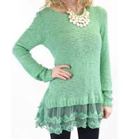 Icy Enchantment Mint Lace Trim Sweater