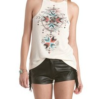 Oatmeal High-Neck Ribbed Aztec Graphic Tank Top by Charlotte Russe