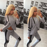Sport Suit  Fashion  Tracksuits Hooded Irregular Stitching Sport Set 2 Pieces Hoodies Set Autumn Sport costumes