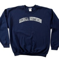 NCAA Georgia Southern Eagles 50/50 Blended 8-Ounce Vintage Arch Crewneck Sweatshirt, Large, Navy