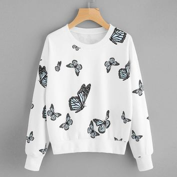 Women Butterfly Printing Long Sleeve Casual Sweatshirt Pullover Tops Blouse
