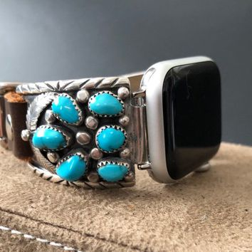 Apple Watch Band 38/40mm 42/44mm Native American Turquoise Sleeping Beauty Vintage E Yazzie Navajo Silver Watch Tips Leather Band  S1 2 3 4