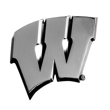 Wisconsin Badgers NCAA Chrome Car Emblem (2.3in x 3.7in)
