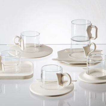 Era Coffee Cup & Saucer Set in Glass & Porcelain design by Seletti
