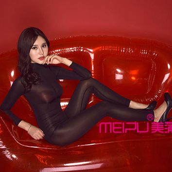 Sexy Ice Silk Full Body stockings Women See Through Teddy Bodysuit Lingerie Catsuit Sexy Pantyhose For Women Dance Wear FX30