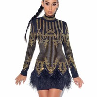 Wildfire Black and Gold Crystal Embellished Backless Dress