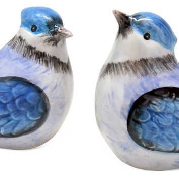 Blue Jay Blue Bird Everyday Dolomite Salt and Pepper Shaker Set of 2