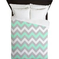 Mint And Gray Chevron, Queen Duvet> Ornaart
