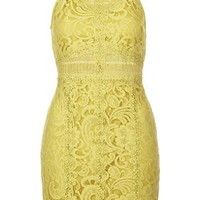 Strappy Lace Bodycon Dress - Lime