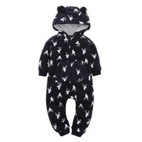Thick Animal Print Hooded Romper Size 6-24 Months
