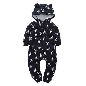 winter warm baby clothes Infant Baby Boys Girls Thicker Animal Print Hooded Romper Jumpsuit Outfit Kid Clothes soft 6-24M