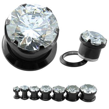 4-16mm Stainless Steel Tunnel Ear Plugs Trendy White Round Cubic Zircon Ear Stretchers Plugs And Tunnels Fashion Body Piercing
