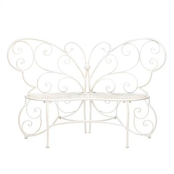 Iron Butterfly Garden Chair Bench