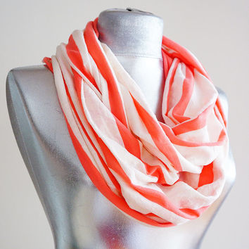 Handmade Coral White Stripe Infinity Scarf - Summer Scarf - Cotton Jersey
