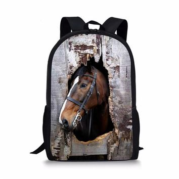 Cool Backpack school FORUDESIGNS Cool Little Boys Girls Crazy Horse School Bag Brown Primary Kids Schoolbag Children Backbag Bookbag Sac a Dos AT_52_3