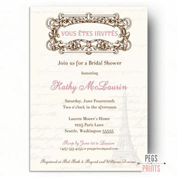 Printable Paris Bridal Shower Invitation - Paris Theme Party - Paris Themed Invitations - Paris Theme Bridal Shower - Paris Shower Invites
