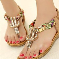 Bohemia clip toe  with Rhinestones sweet floral flat sandals from sweetgirl