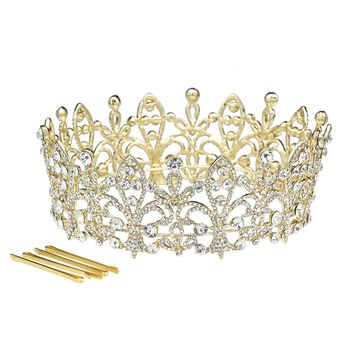 DK FASHION Full Crown Princess Flowral Crystal Girls Hair Tiara Crown hair jewelry