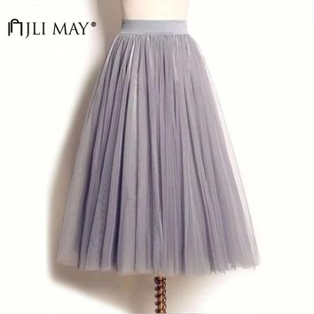 JLI MAY Long adult tulle skirt wedding maxi 3 layers black white elastic pleated mesh mid-calf tutu women summer elegant party