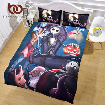 Nightmare Before Christmas Bedding Set Qualified Unique Design Duvet Cover Twin Full Queen