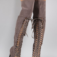 Suede Strappy Lace Up Pointy Toe Stiletto Over-The-Knee Boots