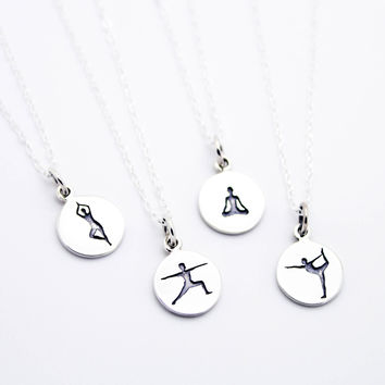 Yoga pose sterling silver necklace