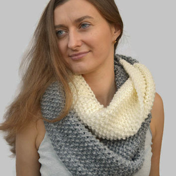 Knit Scarf Two Colors Infinite Knitted  Scarf Tube Loop Scarf Large Grey Knitted Scarf Large Loop Christmas Present Birthday Gift