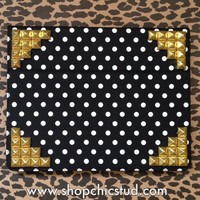 Studded iPad Air Case - Black & White Polka Dot Print - Silver OR Gold OR Black Studs