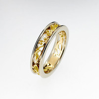 Platinum and yellow gold filigree ring, two tone engagement ring, unique, yellow gold wedding ring, engagement ring, platinum wedding band
