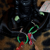 WICKED WITCH - Hoop Earrings w/ Ruby Red Slippers.  Oz Green Beads on the hoops.  Small size.