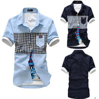 UK Men Fashion Designer Plaid Shirt
