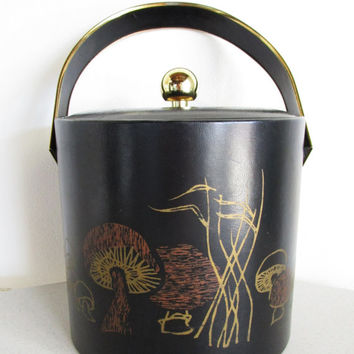 Couroc 1970's Mushroom Ice Bucket Modernist Funky Hippe Black & Gold