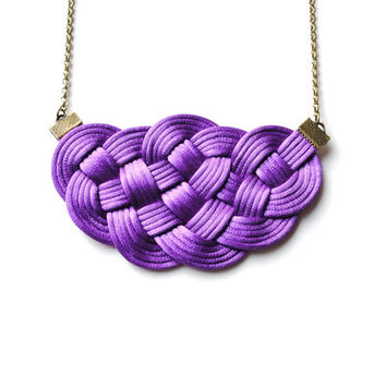 Big Violet Knot Necklace Satin Cords Asian Nautical Simple Elegant Purple Pendant, Winter Trends, Christmas Gift for Her