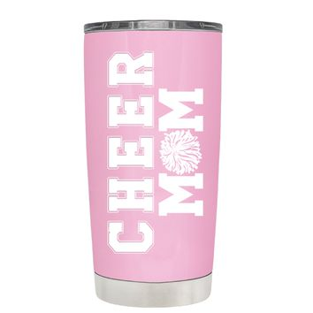 Pom Pom Cheer Mom on Pretty Pink 20 oz Tumbler Cup