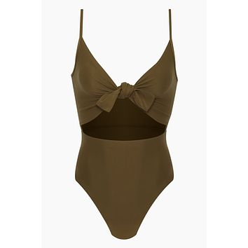 Elora Front Cut Out One Piece Swimsuit - Olive