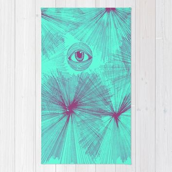 Uncommon Knowledge - Teal Rug by Ducky B