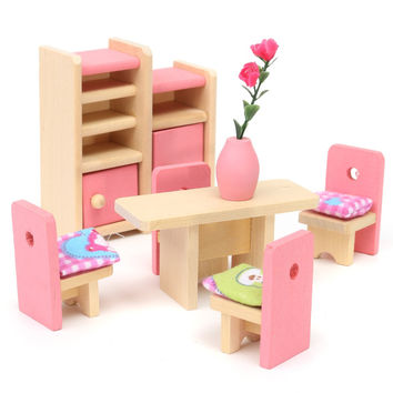Wooden Delicate Dollhouse Furniture Toys Miniature For Kids Children Pretend Play 6 Room set 4 Dolls Toys