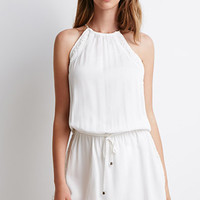 Crochet-Paneled Halter Dress