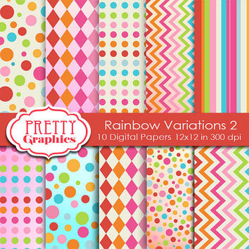 DIGITAL PAPERS - Rainbow Variations 2. - Commercial Use - 12x12 JPG Files -Printable Papers- Scrapbook Papers - High Quality 300 dpi