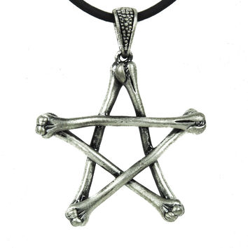 Skeleton Bone Pentagram Necklace Gothic Wiccan Jewelry