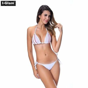 DCCKJG2 I-Glam Bikini Lingerie Thong String Brazilian Swimwear Tiny Micro White Bottom Sheer Top iGlam Beach Wear
