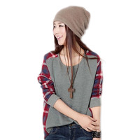 Women Long Sleeve Sweatshirt Casual Loose Tops Plaid Blouse O Neck Pullover Sport Suit Hoodie Sudaderas Mujer 2016