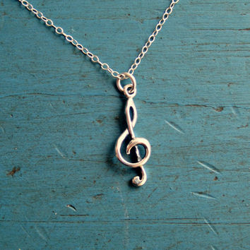 Sterling Silver Treble Cleff Necklace Music Lover Piano Teacher gift