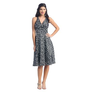 CLEARANCE - Polka Dot Black Dress Marilyn Monroe Halter Short Graduation Gown Knee Length (Size XS, S, M)