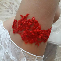 Free Shipping red Lace garter Something red garter wedding garter  bridal garter bridal gifts