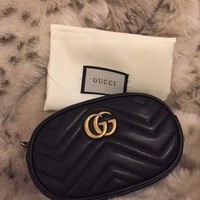 Gucci Marmont Metalasse Leather Belt Bag