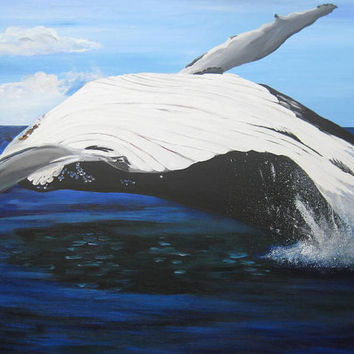custom whale dolphin fish sea creature made to order large huge painting on canvas acrylic paint